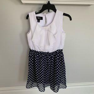 Amy Byer Navy and white polka dot. dress: size 5